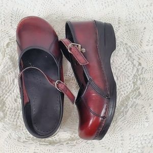 Dansko Mary Jane Burgundy Clogs